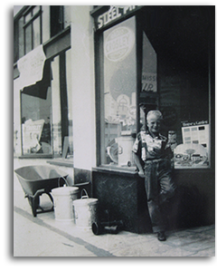 Craig Pykles in front of his father's store.